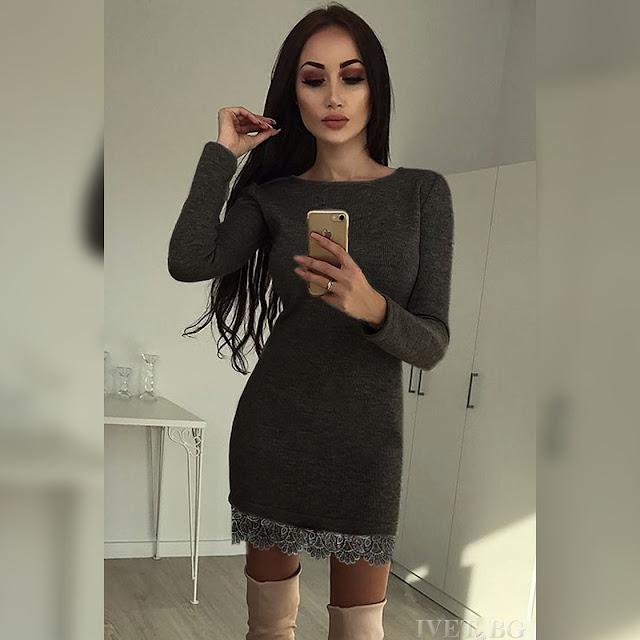 Μακρυμάνικο κοντό γκρι φόρεμα TWEET