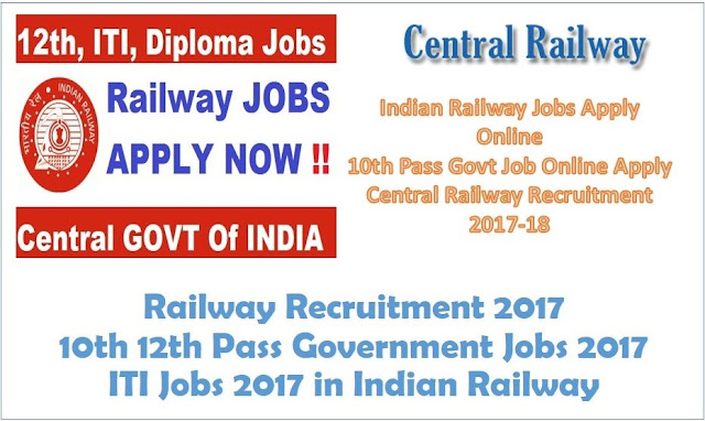 Railway Recruitment for 10th 12th Pass Government Jobs 2017, ITI Jobs 2017 in Indian Railway