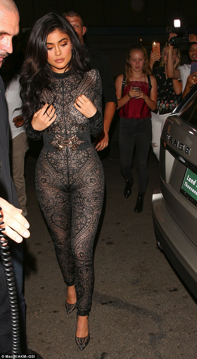 Photos Kylie Jenner Steps Out In See Through Lace Jumpsuit Kubilive