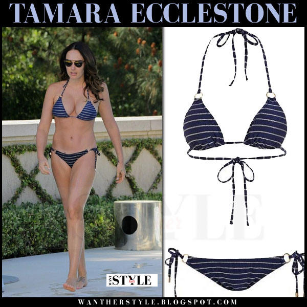 Tamara Ecclestone in blue striped triangle bikini melissa odabash what she wore beach style