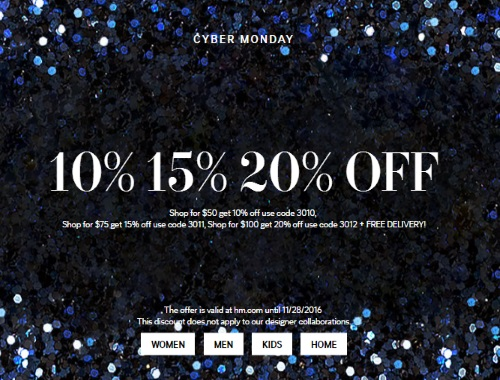 H&M Cyber Monday Up To 20% Off Promo Code