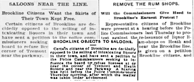 Newspaper headlines about Brookline's petition to Boston police commissioners