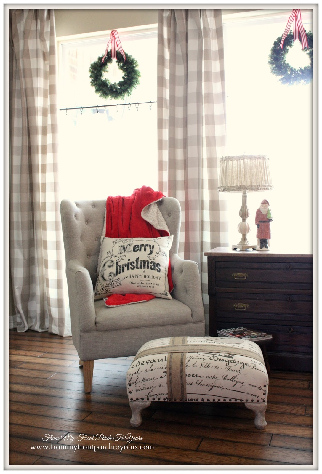 Buffalo- Check -Curtains-Farmhouse- Vintage- Christmas- DIY Stool-From My Front Porch To Yours