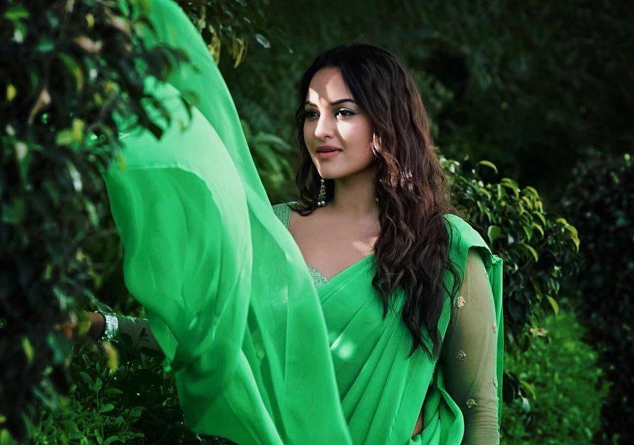 Sonakshi Sinha in Green Sari