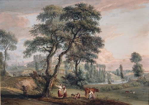 Photograph of picture: Title: Part of the town and castle of Ludlow in Shropshire. Artist: Paul Sandby (1731-1809) Image copyright of the Hamilton Gallery reproduced here with permission