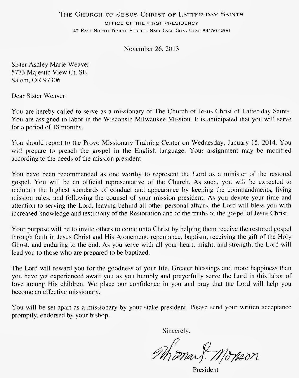 Sister Ashley Weaver: November 26, 2013   Mission Call Letter