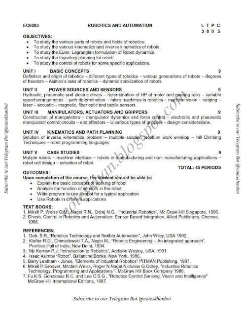 Ec6003 Robotics And Automation Question Papers Anna