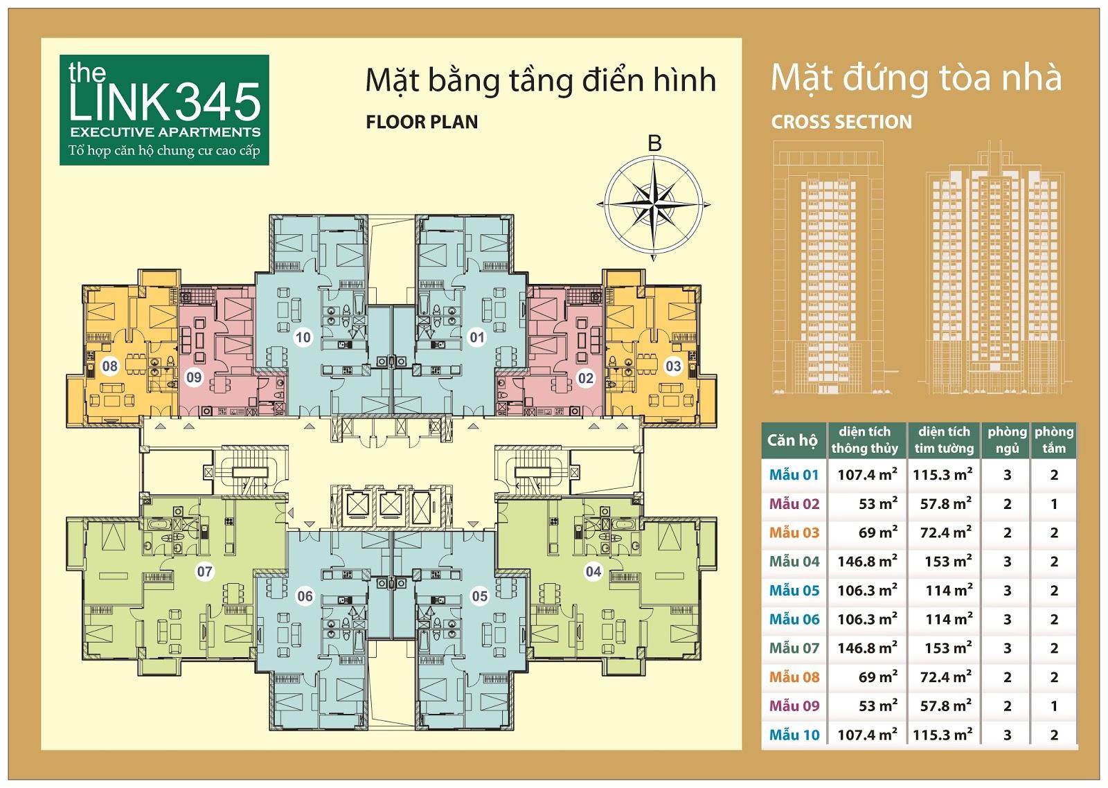 Mặt bằng điển hình tầng tòa The Link 345