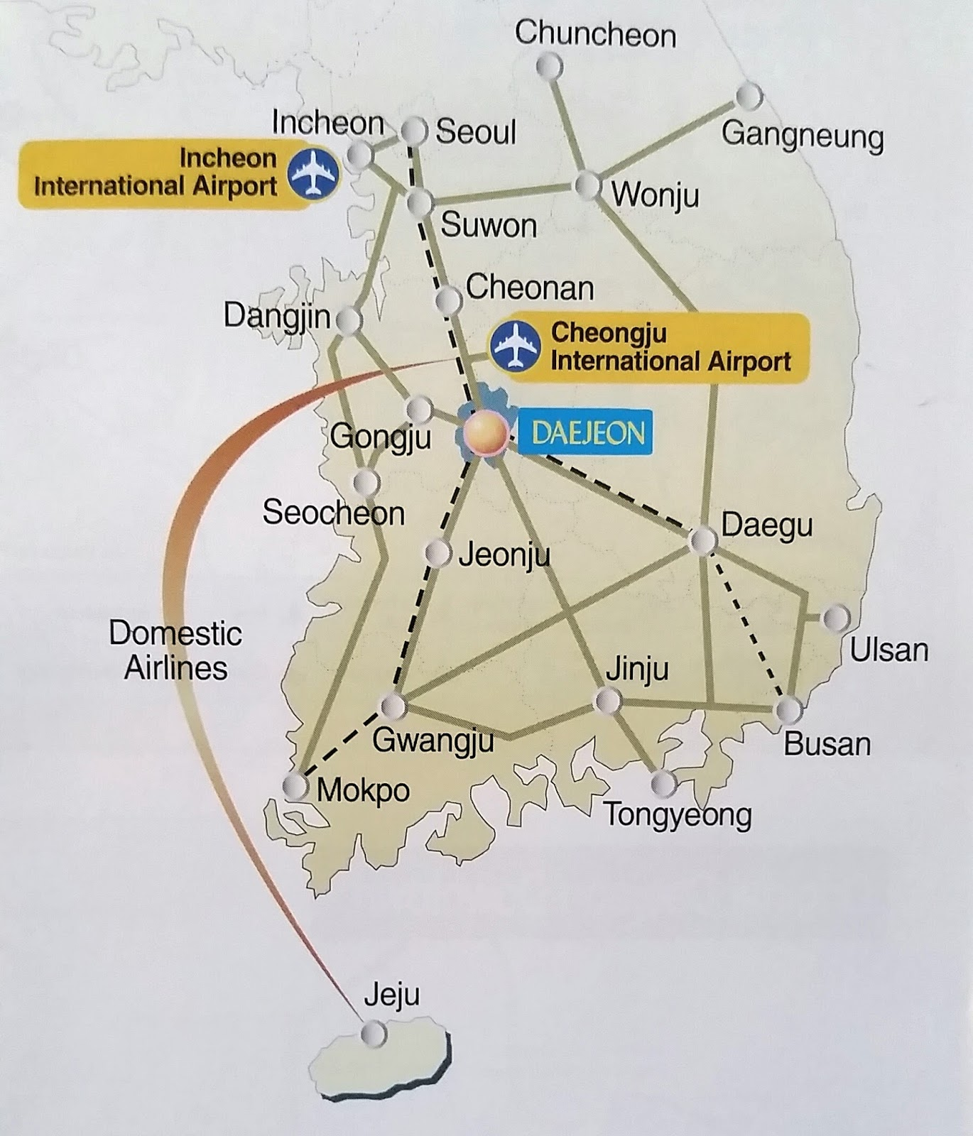 simplified map of south korea from the daejeon tourist information brochure