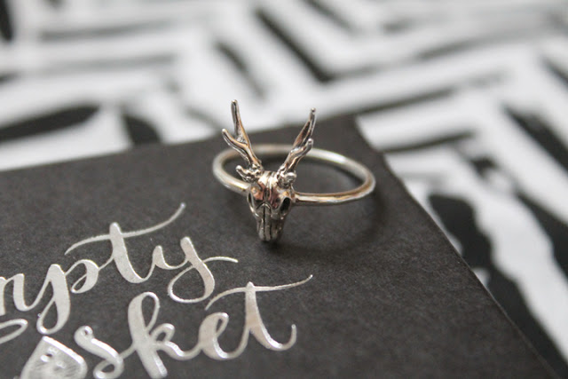 Empty Casket Sterling Silver Ring Stag Deer
