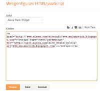 Paste kode HTML dan Simpan