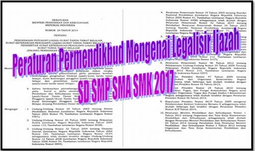 Peraturan Permendikbud Mengenai Legalisir Ijazah SD SMP SMA SMK 2017