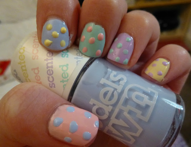 Pastel Polka Dot Nail Art