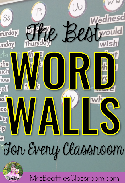 """Photo of word wall with text, """"The Best Word Walls For Every Classroom."""""""