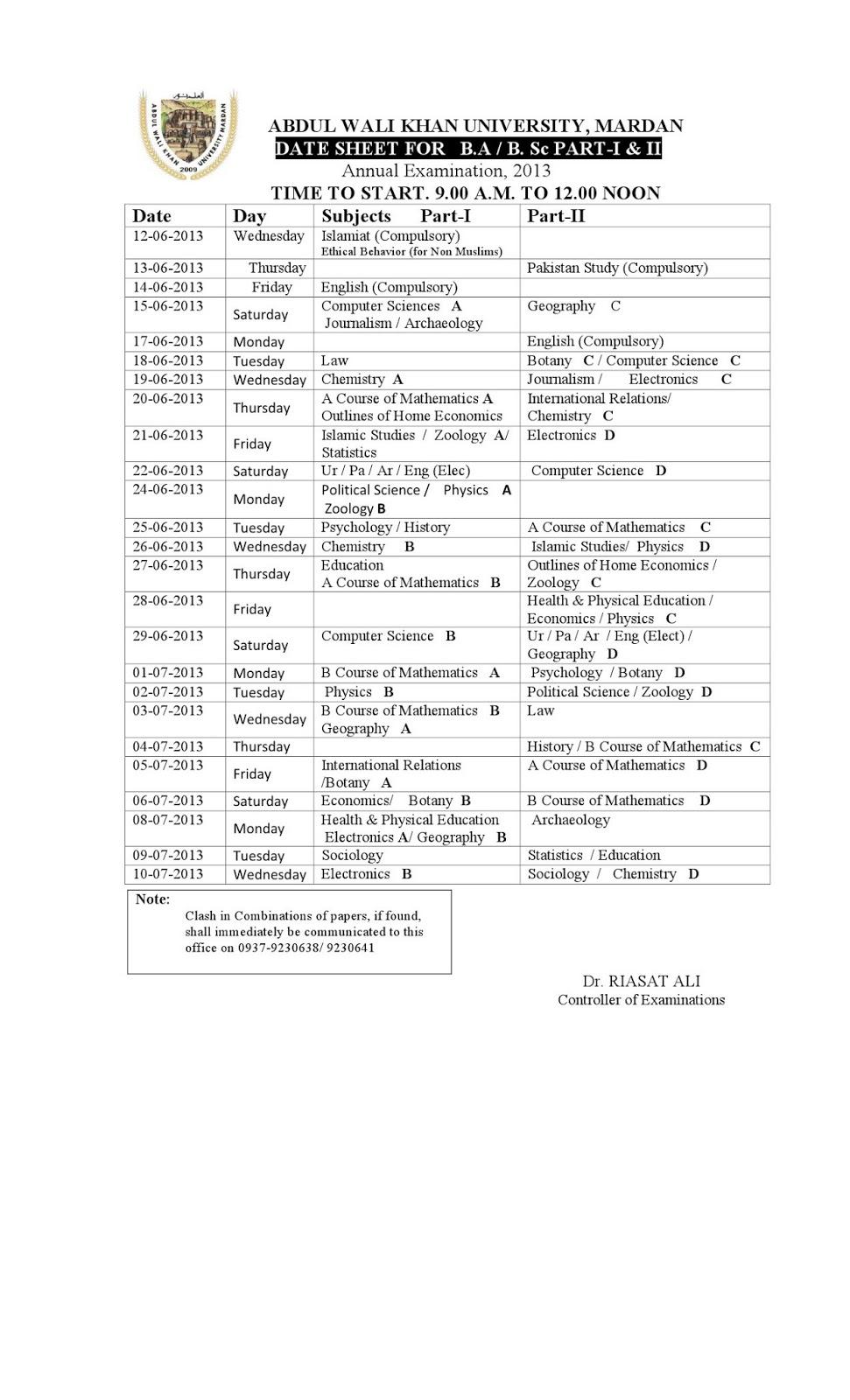 Abdul Wali Khan University Mardan BA/BSc date sheet 2013