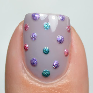 jewel toned polka dot nail art