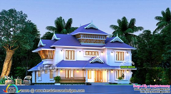 beautiful rendering of traditional style 5 bedroom home