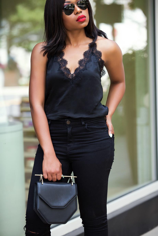 skinny jeans, lace cami, www.jadore-fashion.com