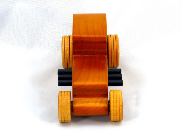 Front Top - Wooden Toy Car - Hot Rod Freaky Ford - 27 T Coupe - Pine - Amber Shellac - Black Hubs