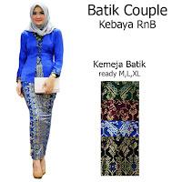 Batik Couple Setelan Kebaya Batik Muslim Kutubaru Rok Batik Prada SBRG140d