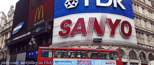 Adverts at Piccadilly Circus photo credit by markhillary