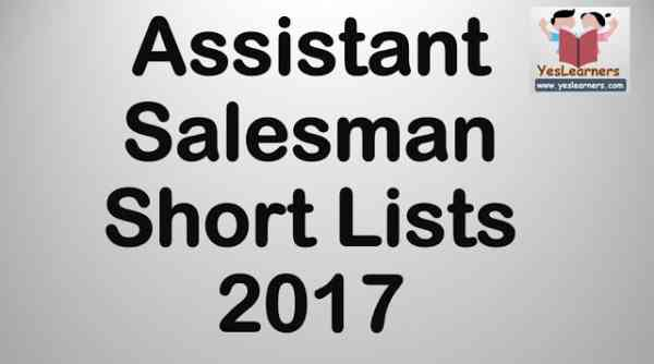 Assistant Salesman - Short Lists