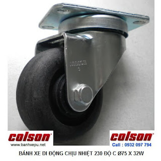 Bánh xe đẩy trolley chịu nhiệt lò nướng bánh mì Colson | A2-3346-52HT banhxepu.net