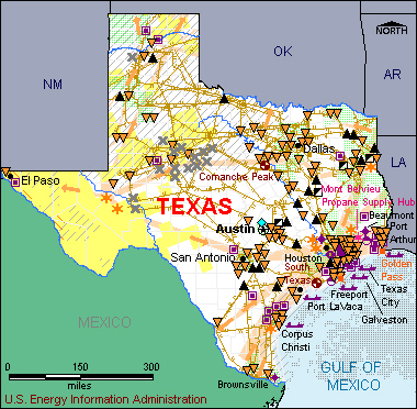 Map Of Texas Natural Resources.Oil Peak Texas Energy Facts