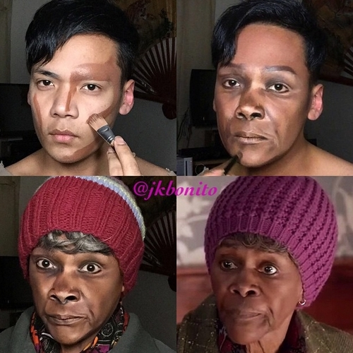 12-Cicely-Tyson-Jan-Bonito-Body-Painting-Human-Chameleon-Mimics-Celebrities-www-designstack-co