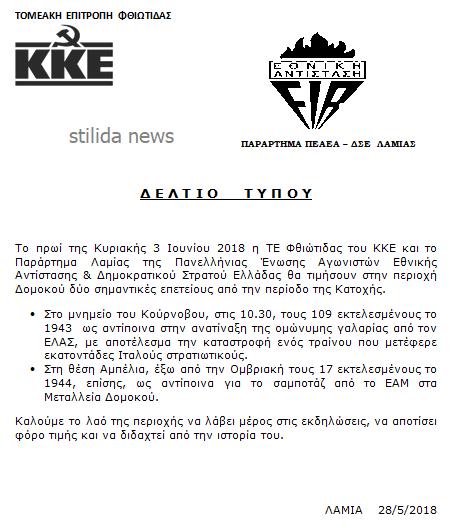Εκδηλώσεις τιμής και μνήμης σε Κούρνοβο και Αμπέλια