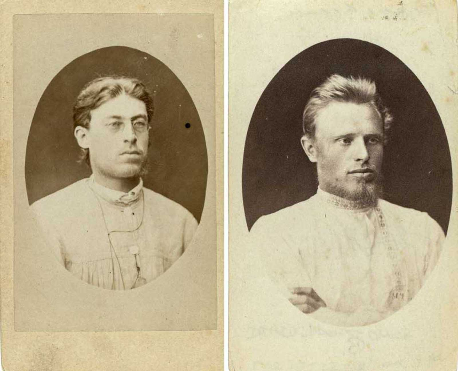 (Left) A writer from Odessa, Nikolai Alekseevich Vitashevskii participated in military opposition in 1878 and was imprisoned in Kharkov Central Prison. Sentenced to four years of hard labor, he was exiled to Yakutsk. (Right) Ivan Cherniavski and his wife were banished to Tobolsk province by administrative process in 1878. In 1881, Cherniavski refused to take the oath of allegiance to Tsar Alexander III and they were sent further east.