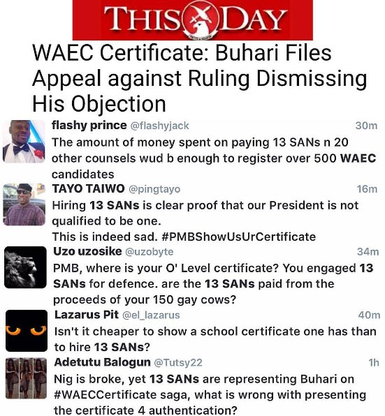 Twitter angry as Buhari challenges lawsuit demanding his WAEC certificate with 13 SANs