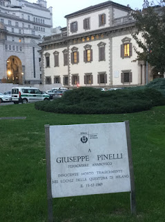 One of the simple memorials to the  bombing suspect Giuseppe Minelli