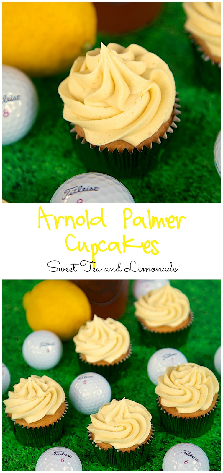 Arnold Palmer Cupcakes Recipe - Iced Tea and Lemonade cupcakes and buttercream. SO good!! Perfect for watching The Masters.