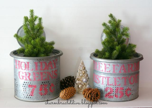 DIY Holiday Greens and Mistletoe Galvanized Stenciled Buckets