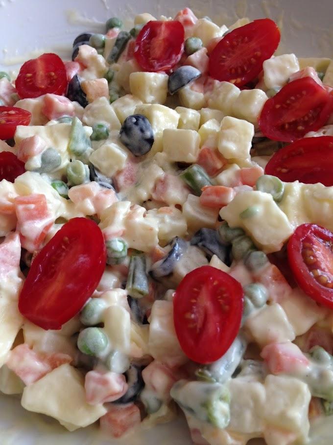 Ensalada brasileña con verduras congeladas