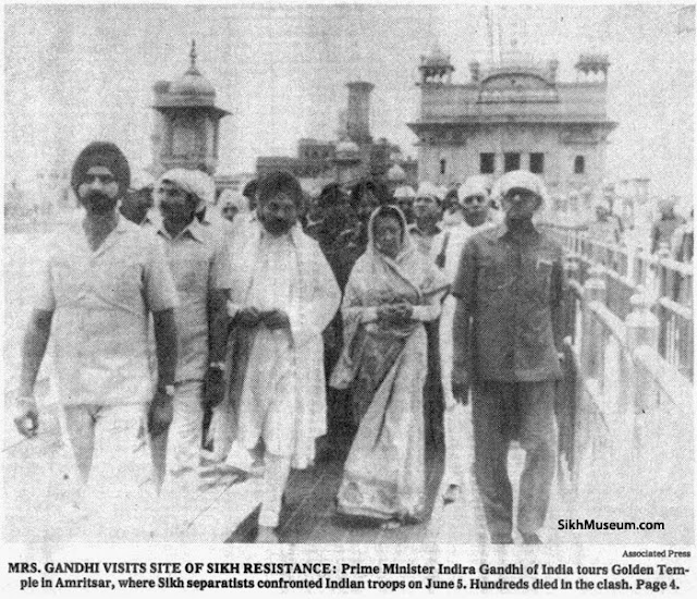 Indira Gandhi visiting Golden Temple on 23rd June 1984