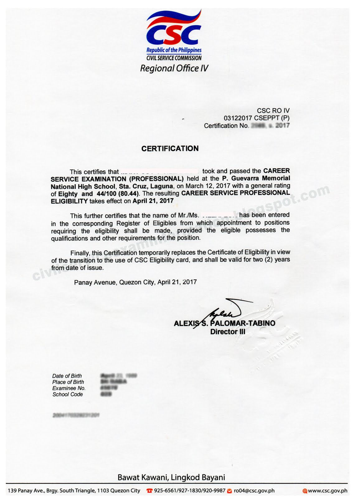 Civil service exam ph how to claim certificate of eligibility this is free of charge given to all civil service exam passers valid for 2 years from the date of issuance printed on csc letterhead and cannot be aiddatafo Gallery