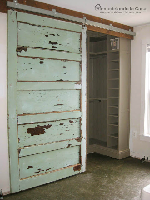 Vintage door used on closet