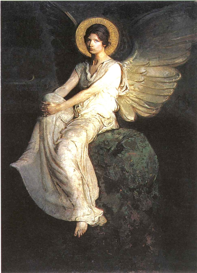 Abbott Handerson Thayer (American artist, 1849–1921) Angel Seated on ...