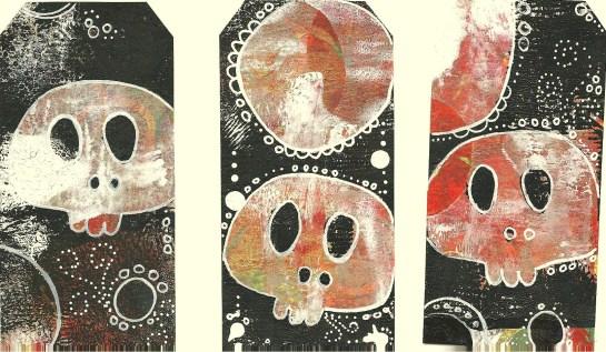 Whoopidooings: Carmen Wing - Gelli Printed and Doodled skull tags
