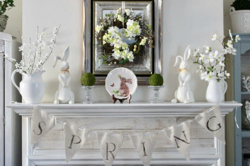 Spring Mantle Decorating Inspiration from Our Crafty Mom