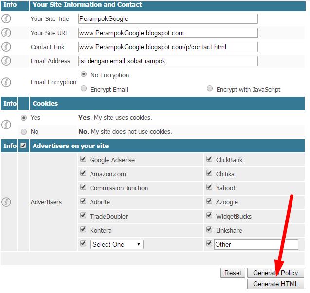 Cara Mudah Membuat Privacy Policy Untuk Blog/Website