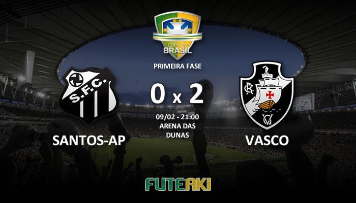 Veja o resumo da partida com os gols e os melhores momentos de Santos-AP 0x2 Vasco pela Primeira Fase da Copa do Brasil 2017.