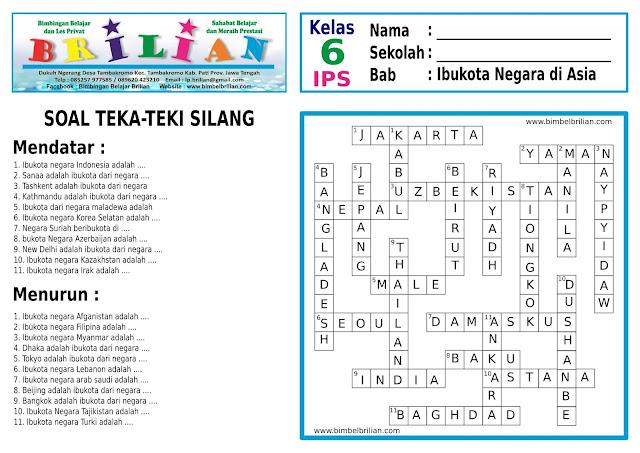 Soal Teka-Teki Silang ( TTS ) IPS Kelas 6 SD Sub Bab Ibokota Negara Di Asia
