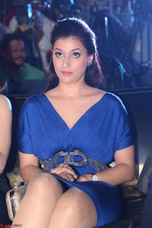 Mannara Chopra in Short Blue Dress at Rogue Movie Teaser Launch 1st March 2017 024.JPG