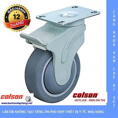 Bánh xe cao su càng nhựa mặt đế Colson chịu lực 70 ~ 100kg www.banhxepu.net