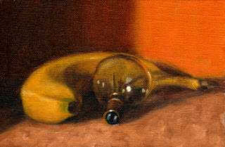 Oil painting of a banana beside a small incandescent light bulb.