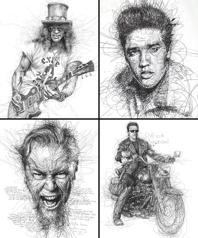 Vince Low, La Dislexia y El Arte del Garabato Slash Elvis Presley James Hetfield Terminator
