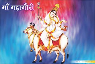आठवीं शक्ति महागौरी  हिन्दी में, आठवीं शक्ति का नाम महागौरी है हिन्दी में,  इनका वर्ण पूर्णतः गौर है हिन्दी में,  इस गौरता की उपमा शंख, चन्द्र और कून्द के फूल की गयी है हिन्दी में,  महागौरी का सांसारिक स्वरूप माँ महागौरी को शिवा भी कहा जाता है हिन्दी में,  इनके एक हाथ में दुर्गा शक्ति का प्रतीक त्रिशूल है हिन्दी में, दूसरे हाथ में भगवान शिव का प्रतीक डमरू है हिन्दी में,  अपने सांसारिक रूप में महागौरी उज्ज्वल हिन्दी में,  कोमल, श्वेत वर्णी तथा श्वेत वस्त्रधारी और चतुर्भुजा हिन्दी में, इनके एक हाथ में त्रिशूल और दूसरे में डमरू है हिन्दी में, तीसरा हाथ वरमुद्रा में हैं हिन्दी में,  चौथा  हाथ एक गृहस्थ महिला की शक्ति को दर्शाता हुआ है हिन्दी में,  महागौरी को गायन और संगीत बहुत पसंद है हिन्दी में,  ये सफेद वृषभ यानी बैल पर सवार रहती है हिन्दी में,  इनके समस्त आभूषण आदि भी श्वेत है हिन्दी में,  महागौरी की उपासना से पूर्वसंचित पाप नष्ट हो जाते है हिन्दी में,  माँ ने शिव वरण के लिए कठोर तपस्या का संकल्प लिया था हिन्दी में, जिससे इनका शरीर काला पड़ गया था हिन्दी में,  इनकी तपस्या से प्रसन्न होकर भगवान शिव ने इनके शरीर को पवित्र गंगाजल से मलकर धोया हिन्दी में, तब वह विद्युत के समान गौर हो गया हिन्दी में,  इनका नाम महागौरी पड़ा हिन्दी में,   माँ महागौरी की पूजा से मधुमेह और आँखों की हर समस्या से छुटकारा हिन्दी में, तृष्णा, एकवीरा, एवं दुरत्यया कहलाती हिन्दी में, महागौरी की पूजा करते समय जहाँ तक हो सके गुलाबी रंग के वस्त्र पहनने चाहिए हिन्दी में,  महागौरी गृहस्थ आश्रम की देवी है हिन्दी में, गुलाबी रंग प्रेम का प्रतीक है हिन्दी में,  एक परिवार को प्रेम के धागों से ही गूथकर रखा जा सकता है हिन्दी में, इसलिए आज के दिन गुलाबी रंग पहनना शुभ रहता है हिन्दी में,    माता सीता ने श्री राम की प्राप्ति के लिए इन्हीं की पूजा की थी हिन्दी में,  माँ महागौरी श्वेत वर्ण की है हिन्दी में,  श्वेत रंग में इनका ध्यान करना अत्यंत लाभकारी होता है हिन्दी में, विवाह सम्बन्धी तमाम बाधाओं के निवारण हिन्दी में, मैं इनकी पूजा अति फलदायक होती है हिन्दी में,  पूजा में माँ को श्वेत या पीले फूल अर्पित करें हिन्दी में, पूजा मध्य रात्रि में की जाय तो इसके परिणाम ज्यादा शुभ होता है हिन्दी में,  अष्टमी के दिन माँ 